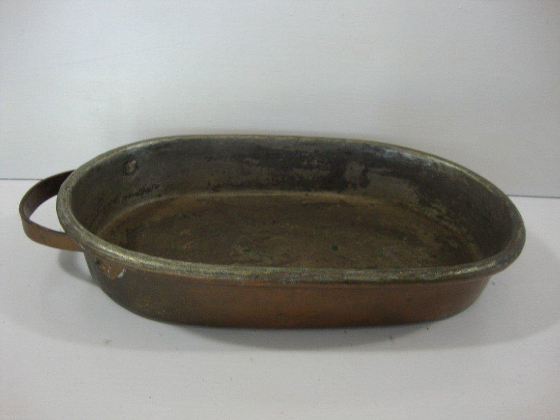 Antique American-1800'Heavy Cooper Brass Cook Oval Pan