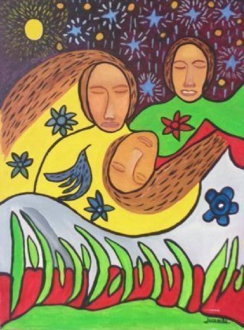 "G Jaramillo Original Painting ""Mentes Del Mundo"""