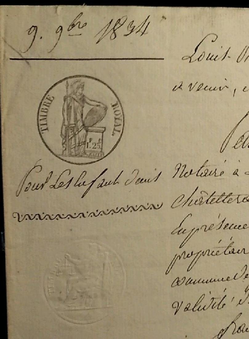 Antique 1834 Notary Document-Stamped. Watermarked.