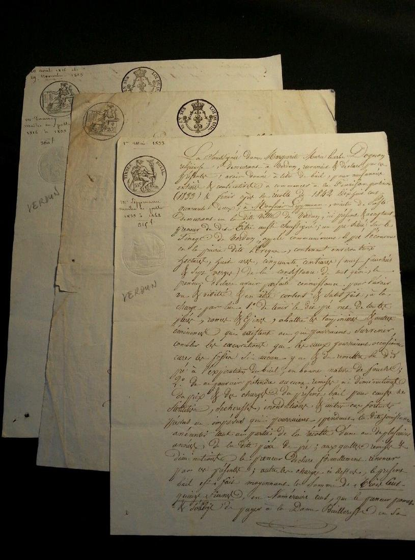 1816, 1823, 1833 Lot of 3 Antique Documents-Manuscripts