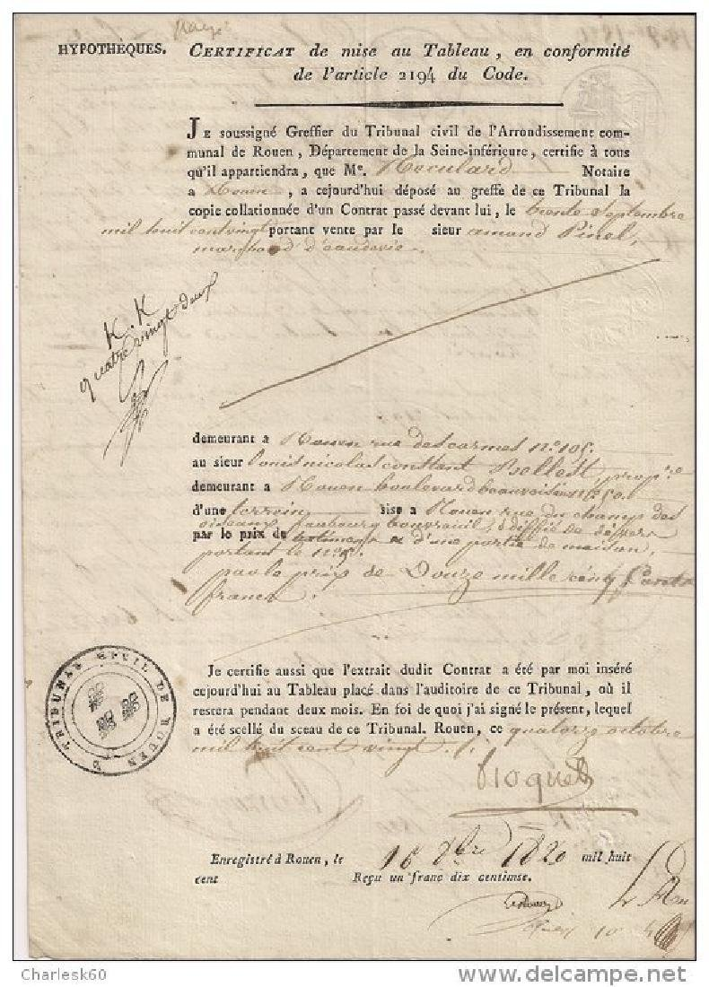 Historical Documents October 16. 1820 signed & Stamp