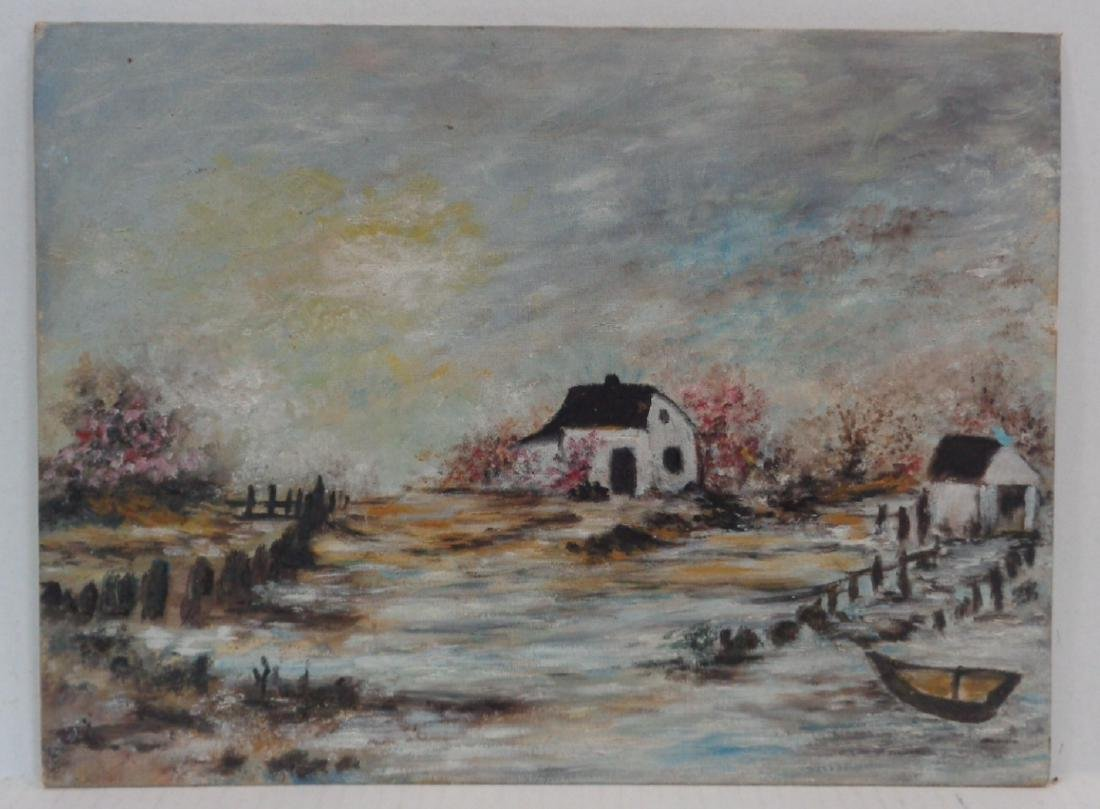Vintage Oil Painting on Canvas Board