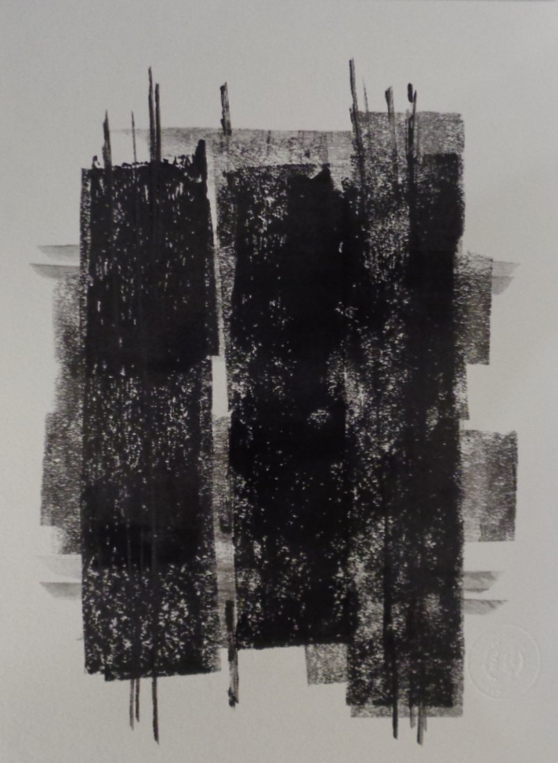 Abstract Modern Minimalism Black Ink- Painting