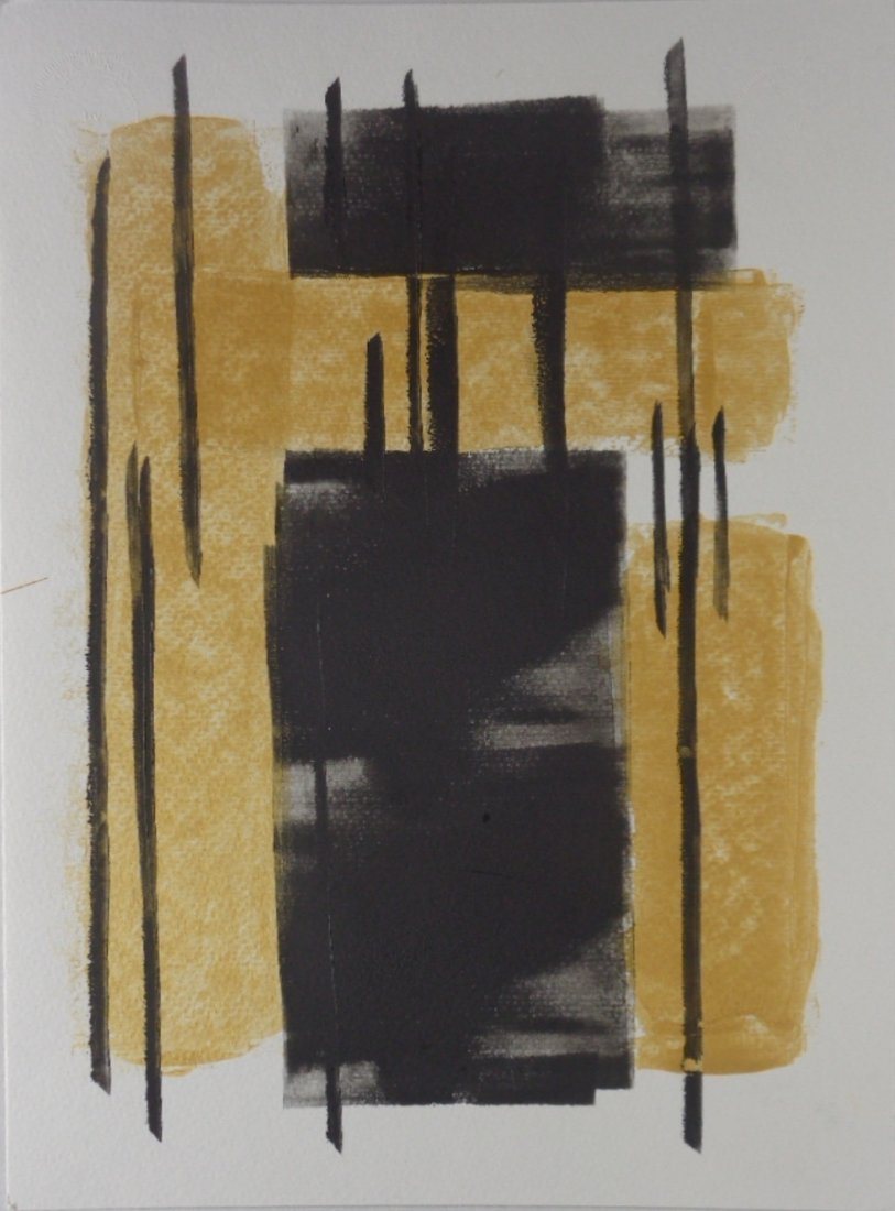 Abstract Modern Minimalism Black-Gold Ink- Painting