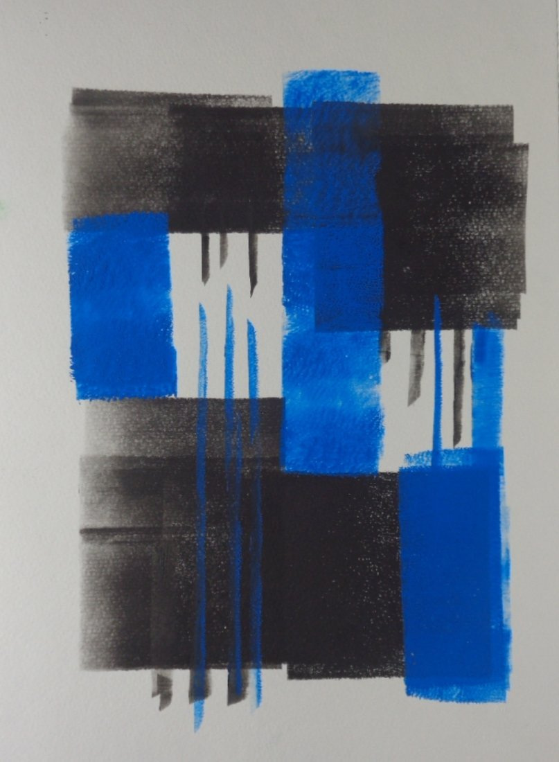 Abstract Modern Minimalism Black-Blue Ink- Painting