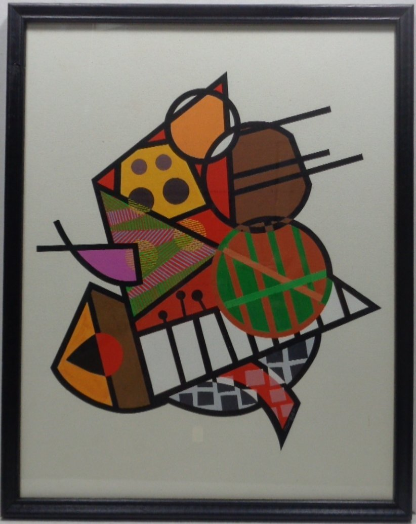Vintage Original Geometric Abstract Hand Painted Signed