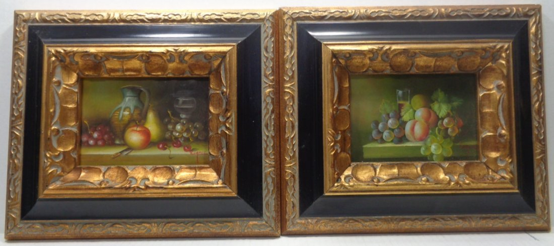 Pair Hand Painting & Solid Ornate Wood Frame Signed
