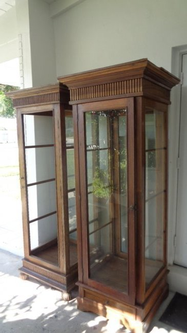 2 Lighted teak wood old display shelf cabinet.The 2 cab