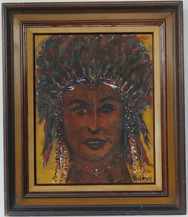 Original Vintage American Indian Signed Painting
