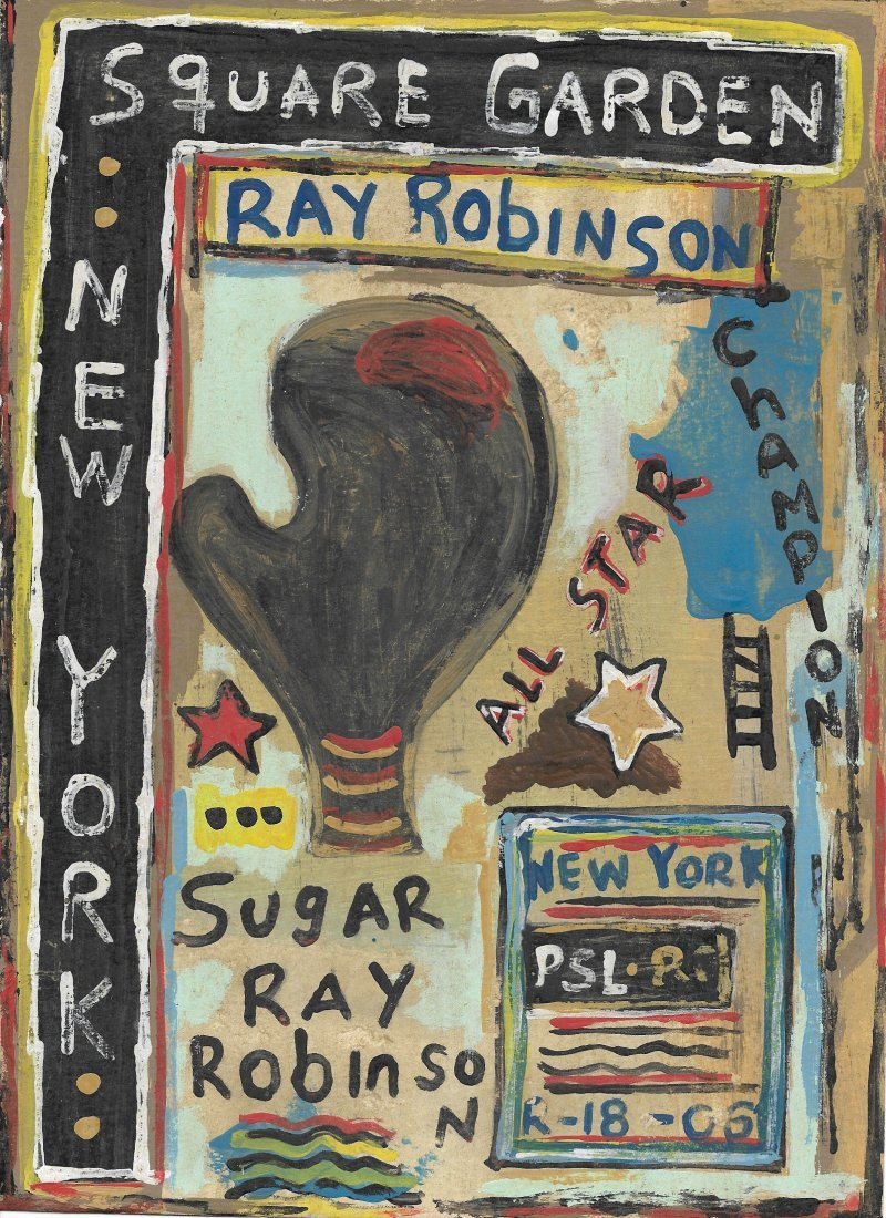 Original Hand Painting Sugar Ray Box Signed