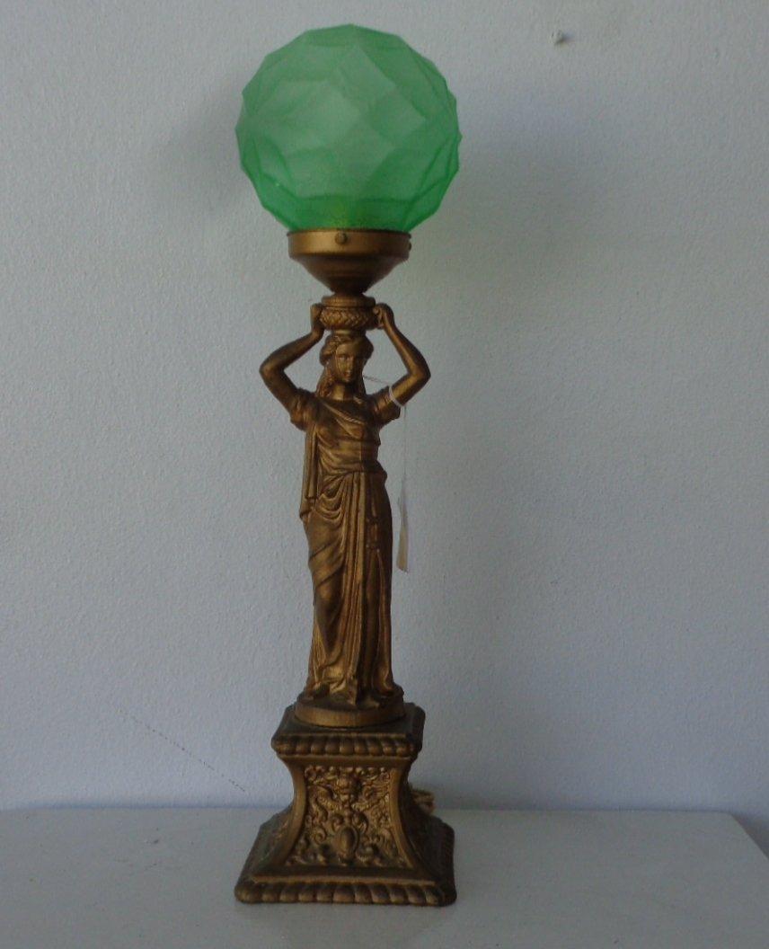 Art Deco Figural Table Lamp , Standing Female