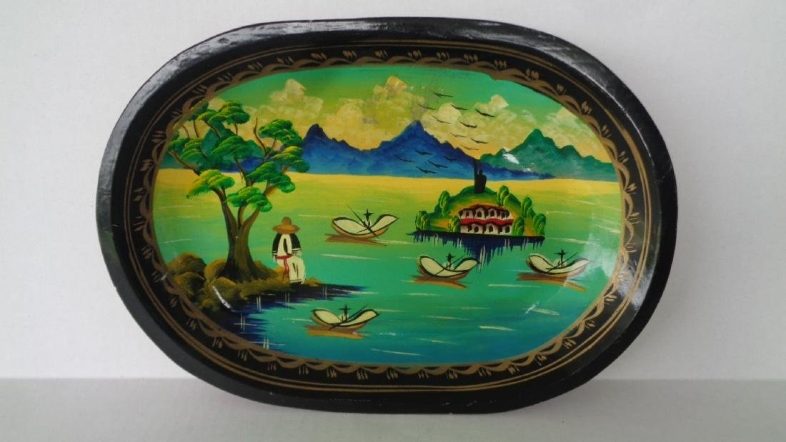 """Hand Painted Wood Carved Plate 14"""" 9""""1/2"""