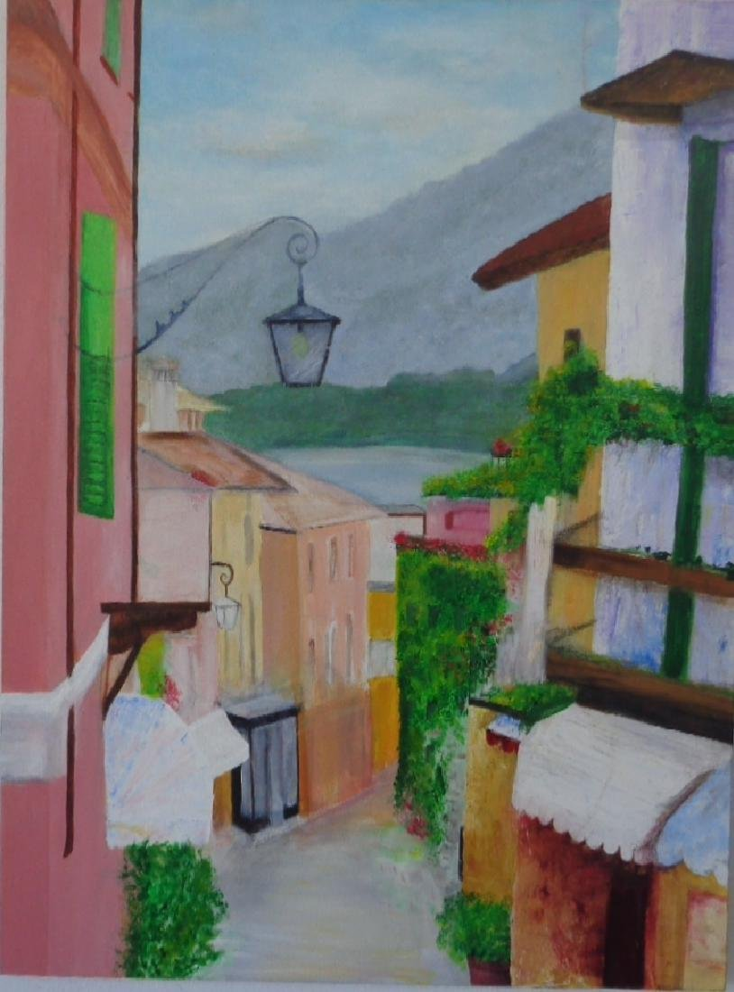 Italian Lombardy Courtyard Painting Signed