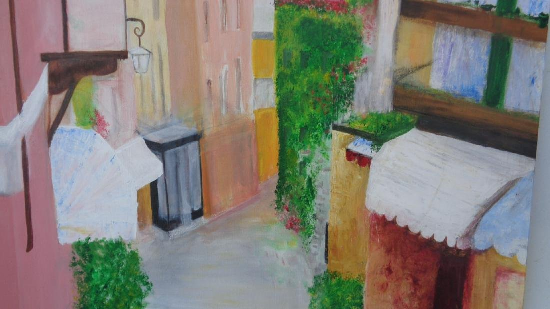 Italian Lombardy Courtyard Painting Signed - 2