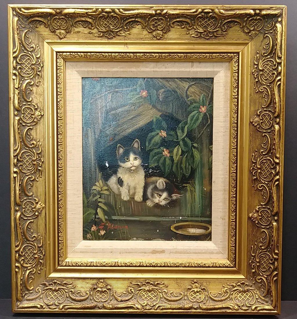 Original Framed Kitten Oil Painting: