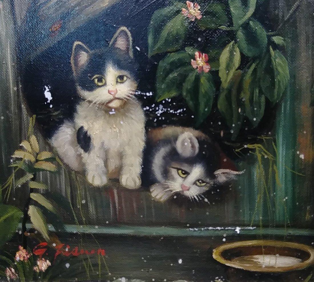 Original Framed Kitten Oil Painting: - 2