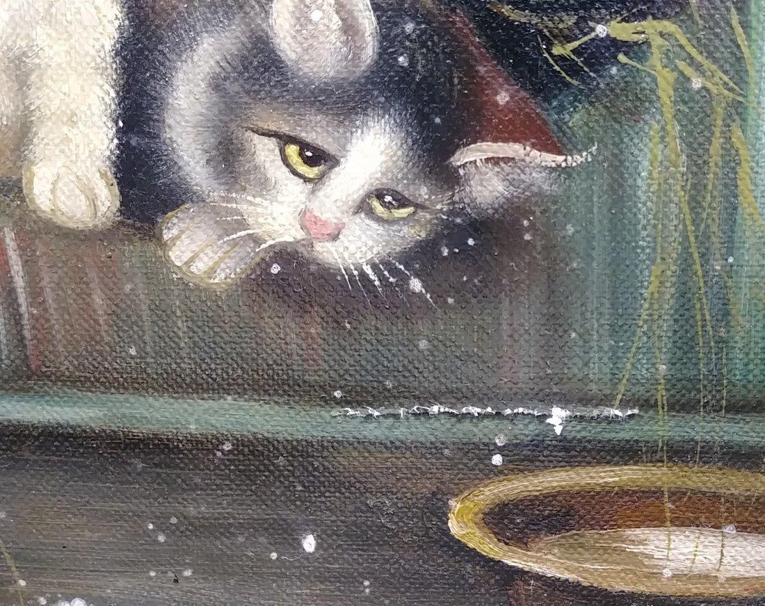Original Framed Kitten Oil Painting: - 3