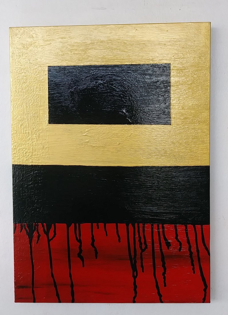 Original Minimalist Abstract Painting Black Red Gold