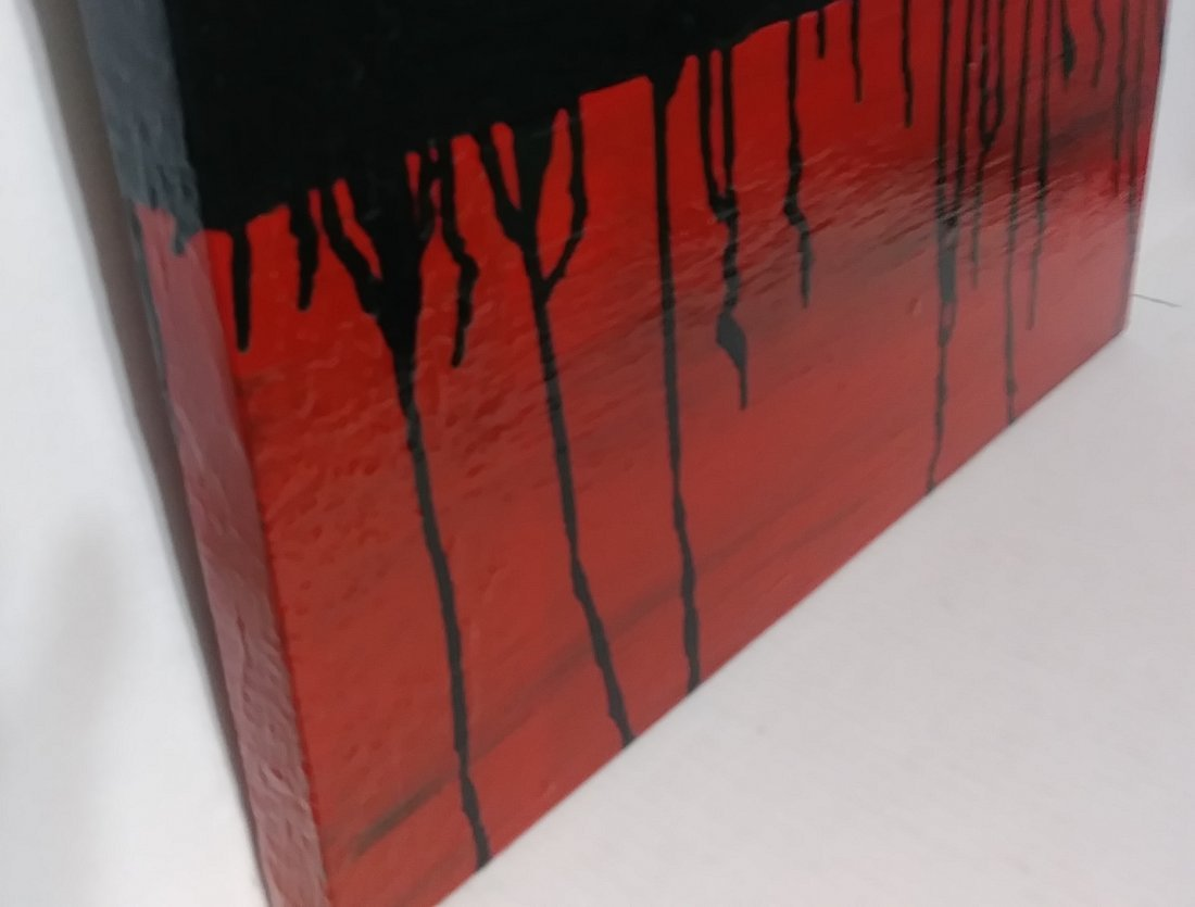 Original Minimalist Abstract Painting Black Red Gold - 3