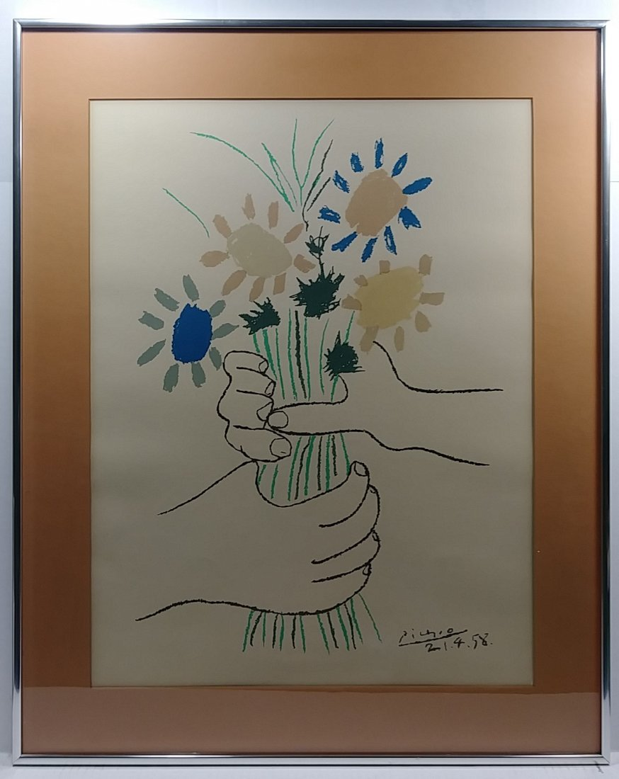 Vintage Picasso Signed Silk Screen Bouquet of Peace