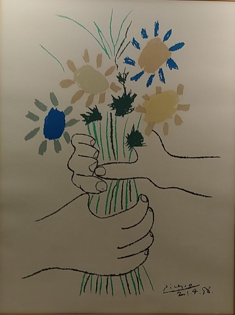 Vintage Picasso Signed Silk Screen Bouquet of Peace - 2
