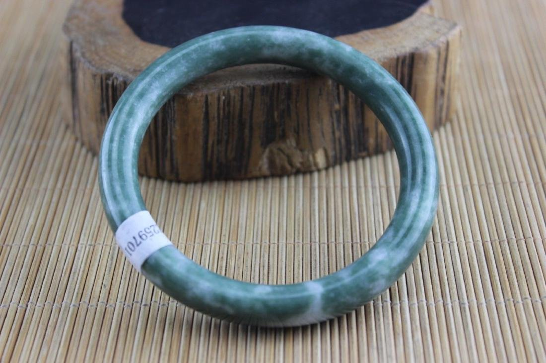 Certificated Natural Green Jade Hand-Carved Bracelet - 2