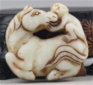 Antique Natural Jade Hand Carved HorseMonkey Medallion