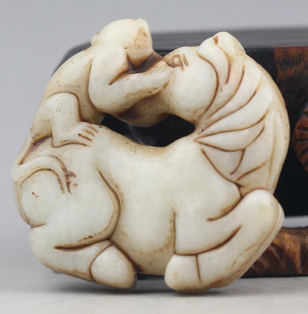 Antique Natural Jade Hand Carved Horse-Monkey Medallion - 2