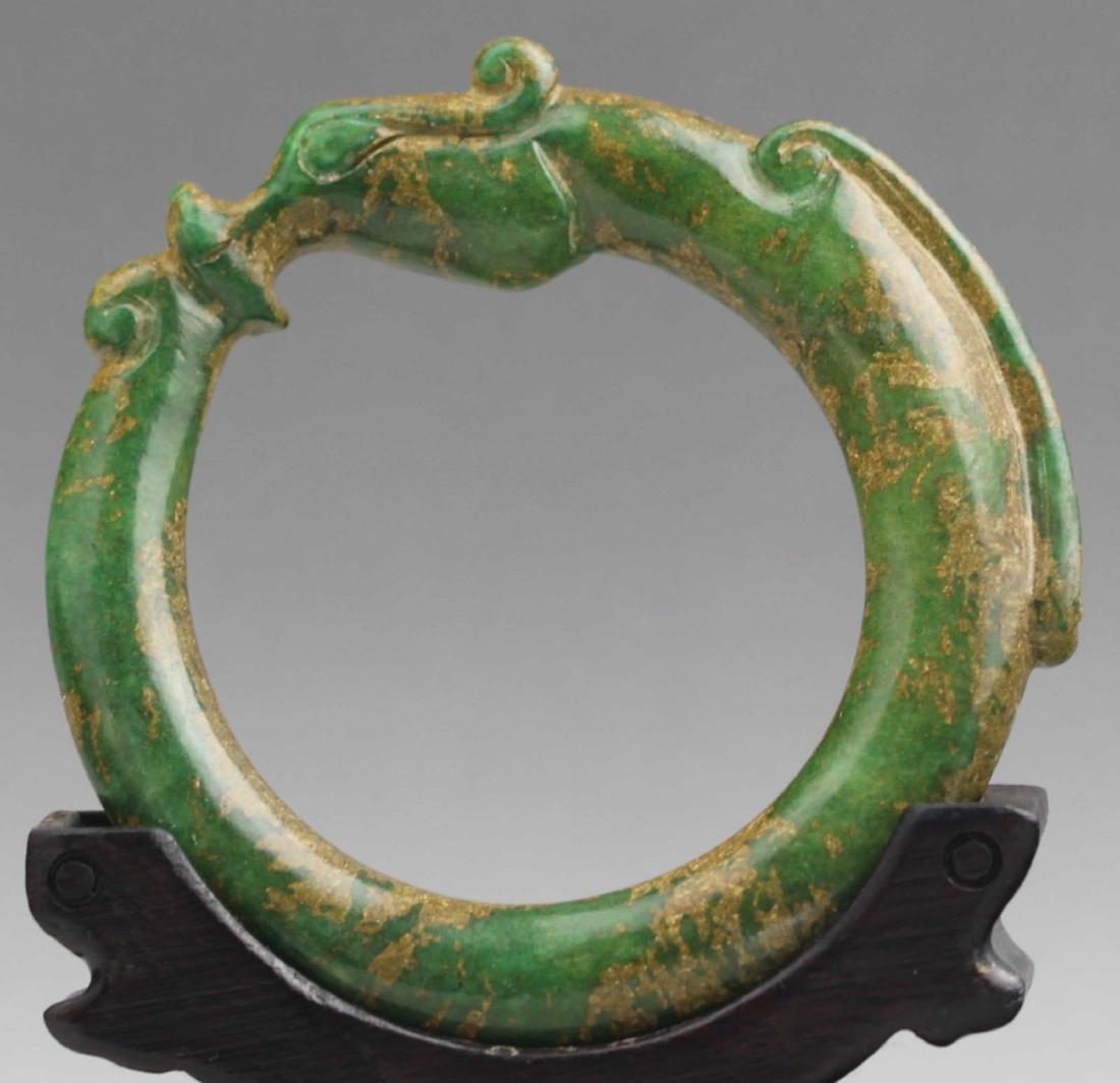 Old Chinese Natural Jade Hand Carved Bangle Bracelet