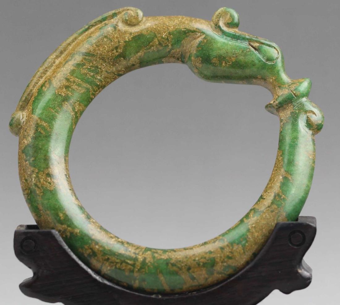 Old Chinese Natural Jade Hand Carved Bangle Bracelet - 2