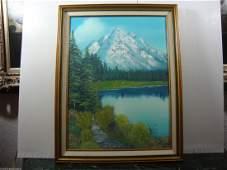 P T Signed Sea Lund  Canada 1989 Landscape Oil Paint