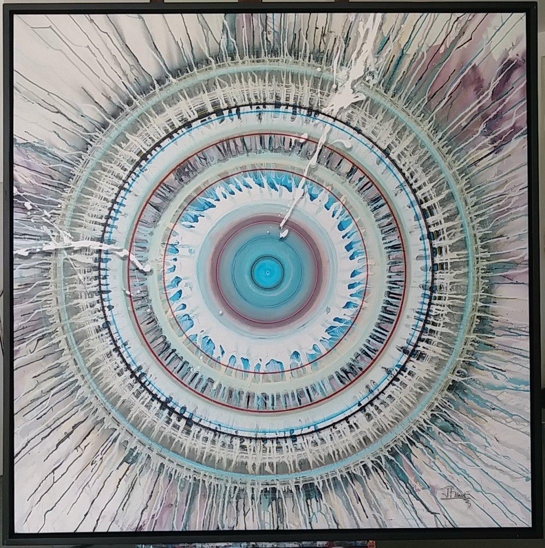 J. Rivera (1956) Painting Tittle:Sacred Circles. W/ COA