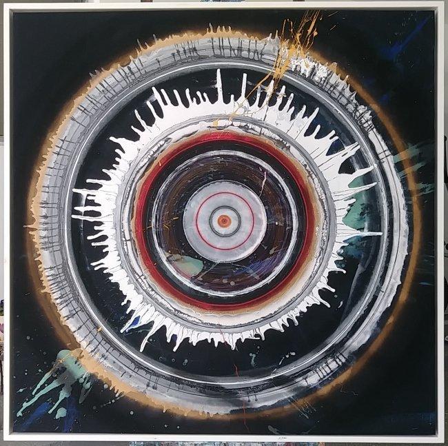 J. Rivera (1956) Painting Tittle:Sacred Circles w/COA