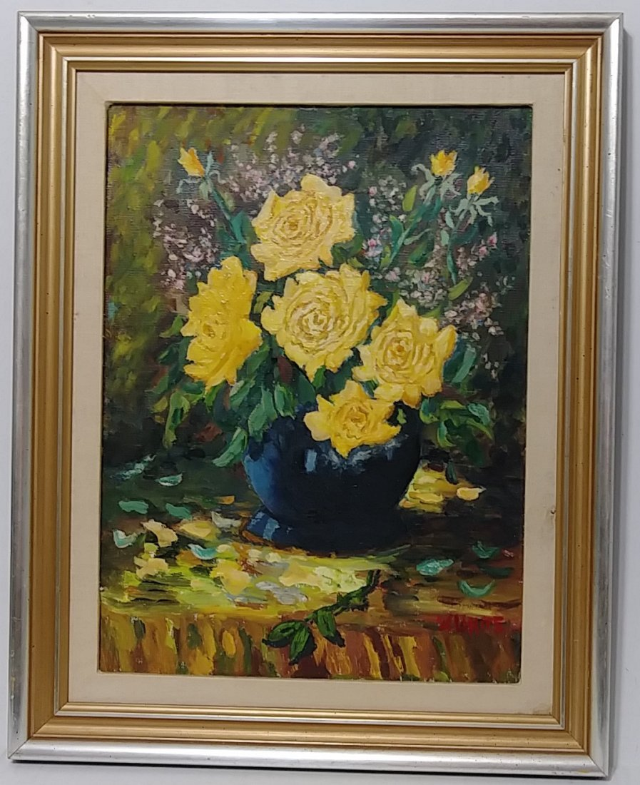 Vintage Bouquet of Flower Oil Painting Signed