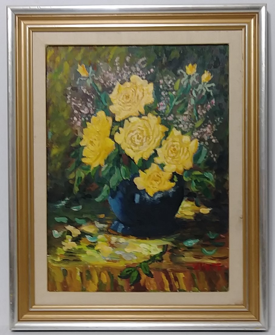 Vintage Bouquet of Flower Oil Painting Signed - 2