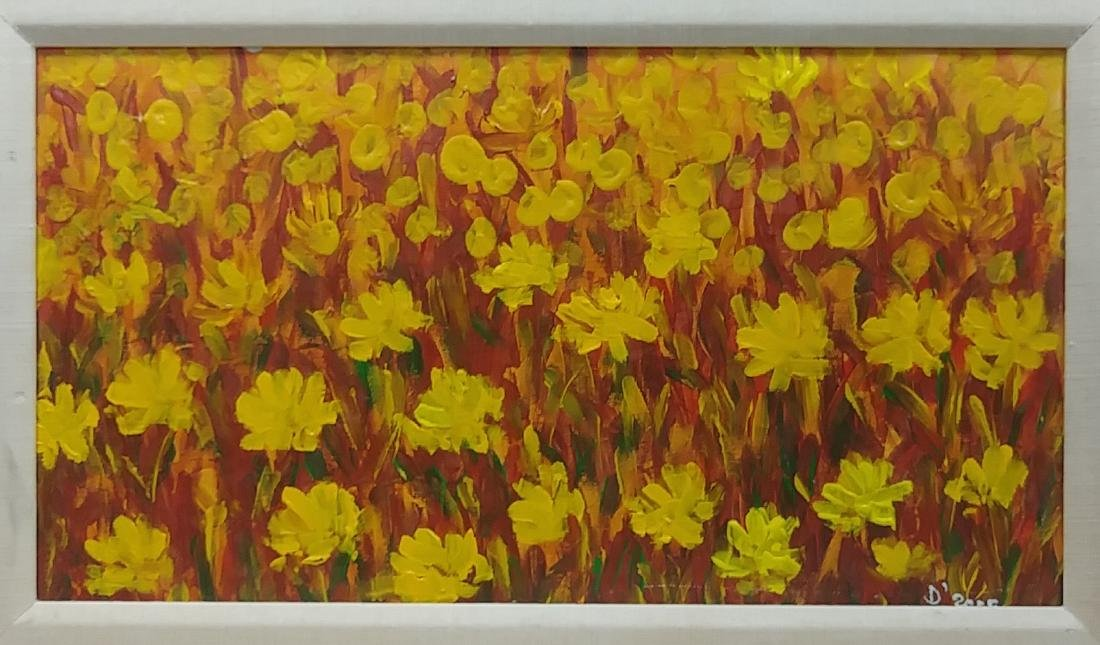 Original Sunflower Oil Painting, Signed - 2