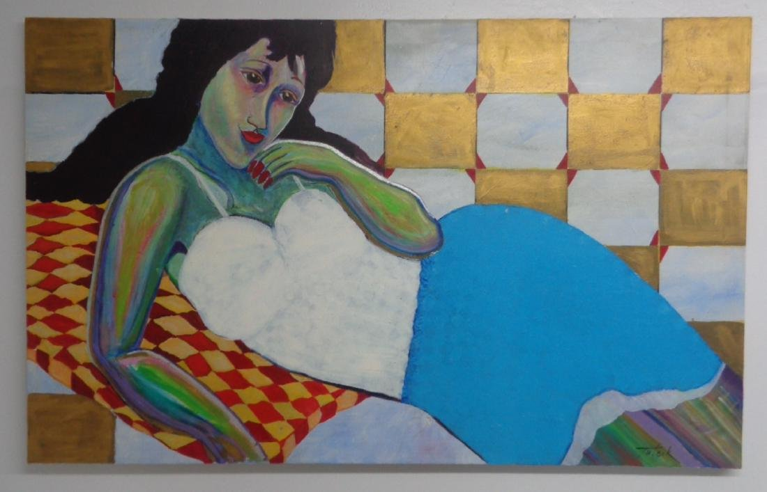 Large Original Lady Oil Painting Signed