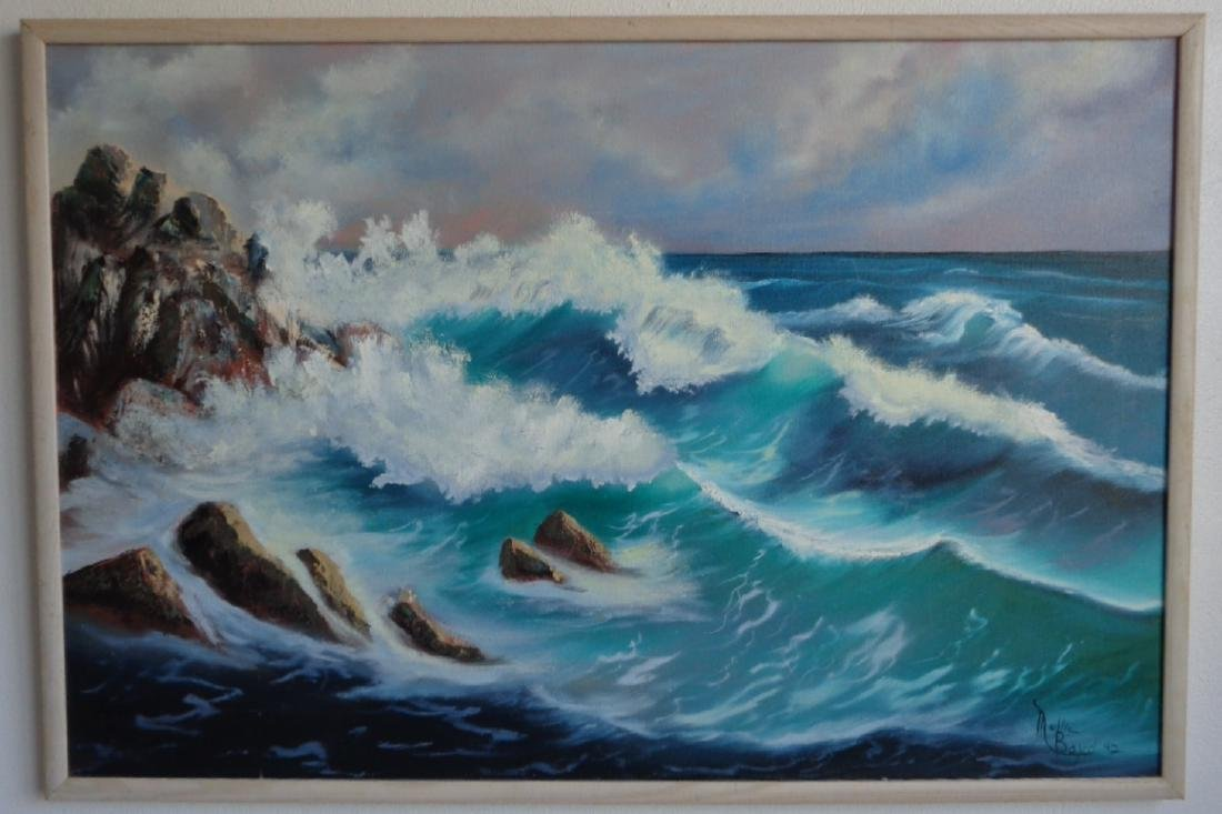 Original oil painting signed Mollie Boyd 92 Sea Wave .