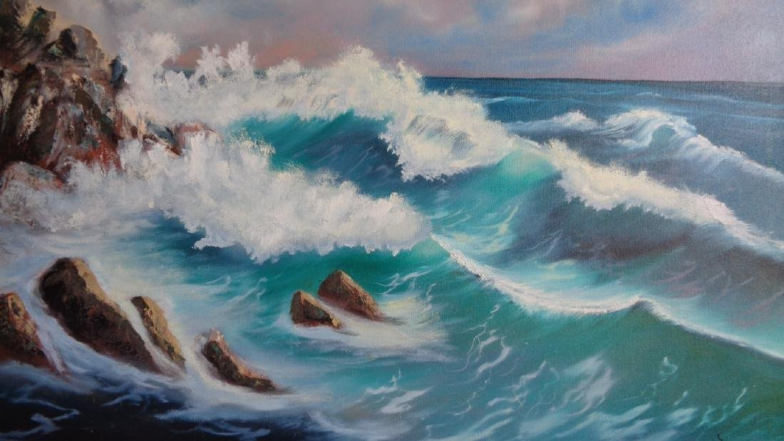 Original oil painting signed Mollie Boyd 92 Sea Wave . - 3