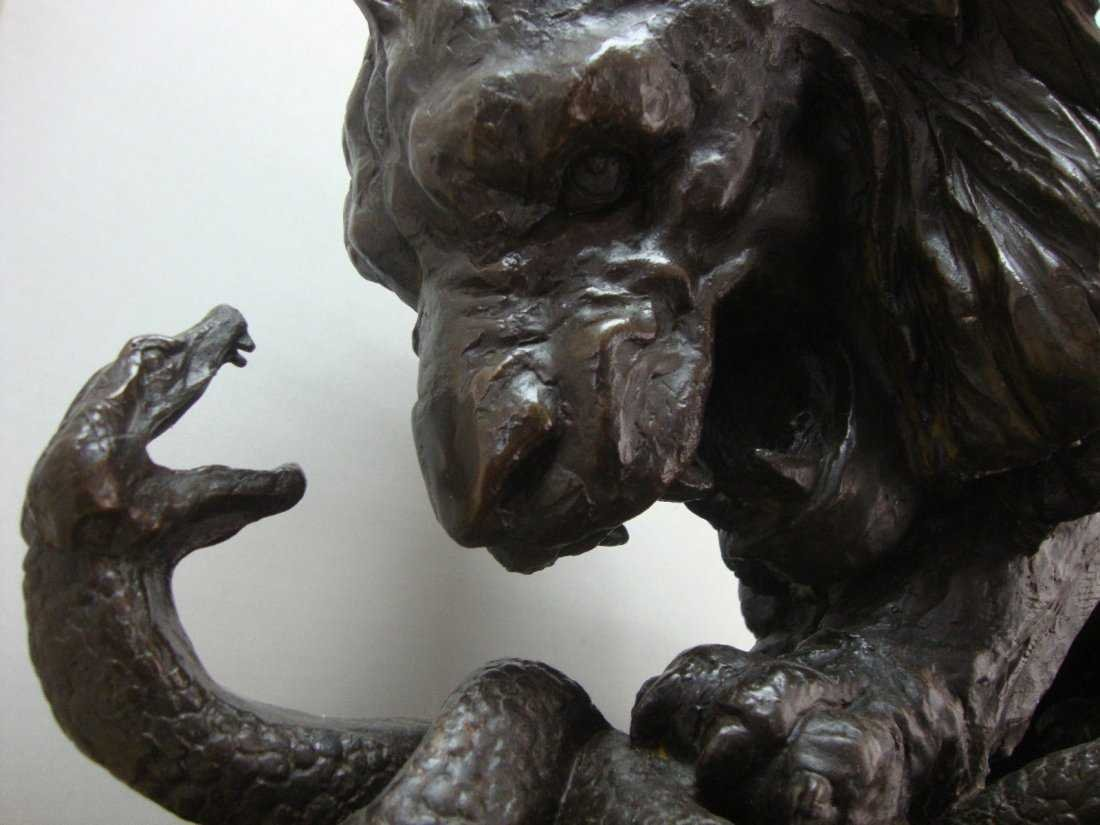 Large Bronze Lion Statue 114 lbs Signed - 2