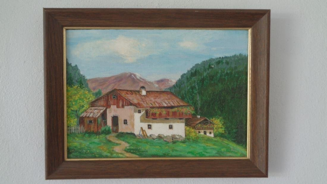 Original Vintage Oil Painting Farm by Gleen