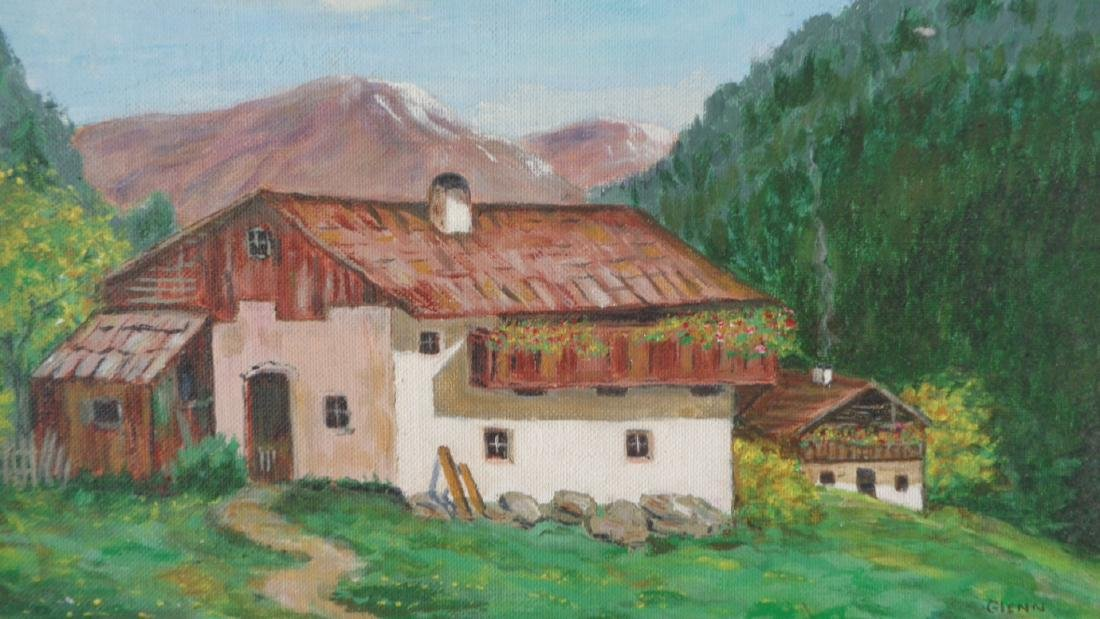 Original Vintage Oil Painting Farm by Gleen - 2