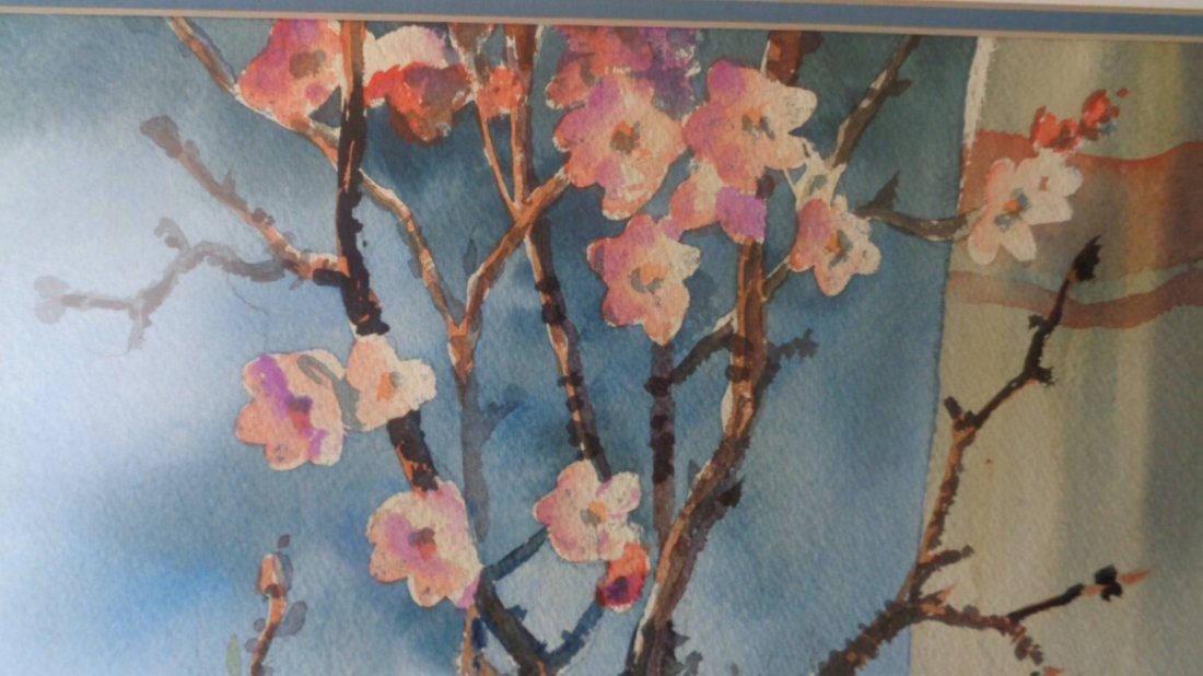 Large Original Watercolor Signed 69 UV Glass - 2