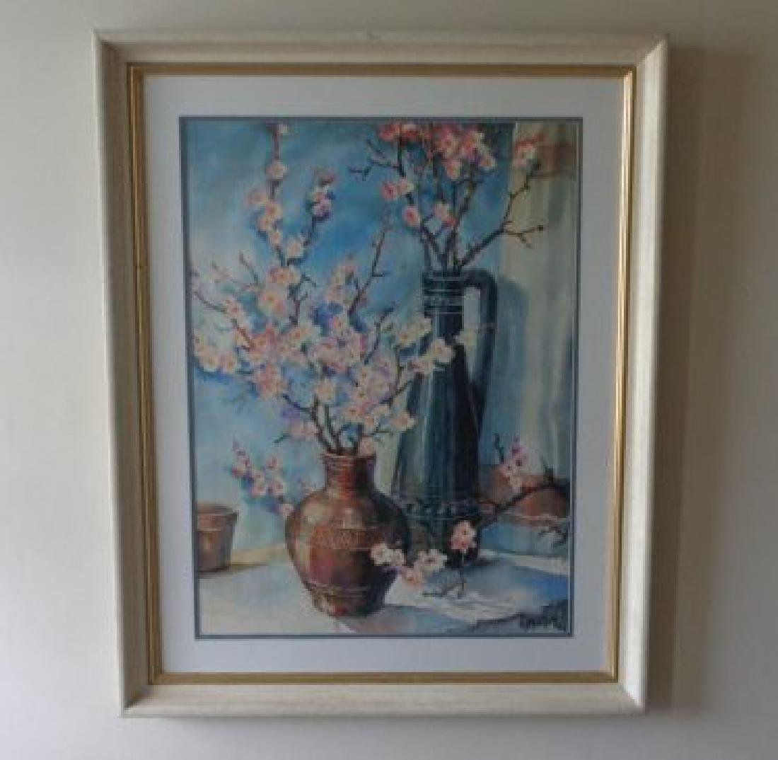 Large Original Watercolor Signed 69 UV Glass - 8