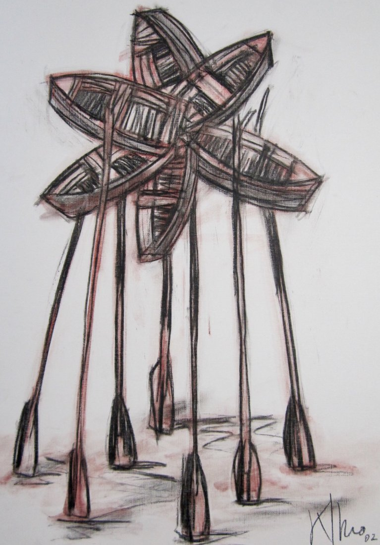 Alexis Leiva Machado (Kcho) Mixed Media Crayon on Paper - 4
