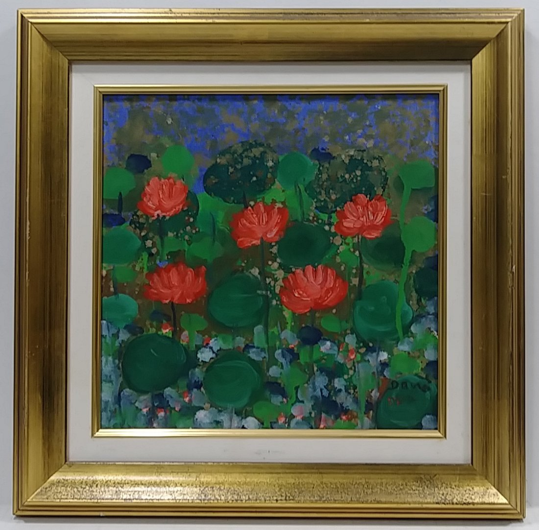 Original Signed Flower Painting on Canvas Framed