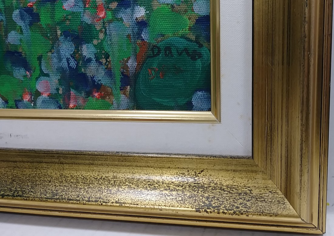 Original Signed Flower Painting on Canvas Framed - 2