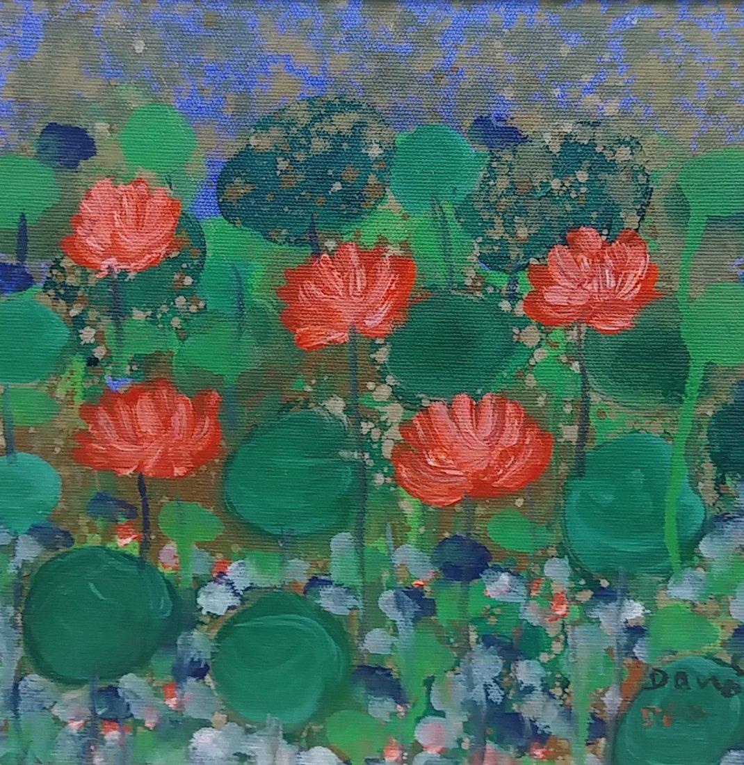 Original Signed Flower Painting on Canvas Framed - 3