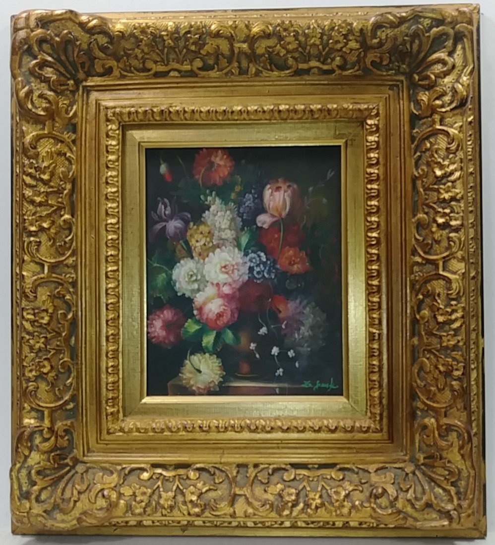 Bouque of Flower Oil Painting Signed.