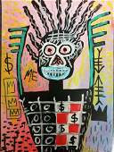 Neo Expressionist Jean Michel Basquiat Large Painting D